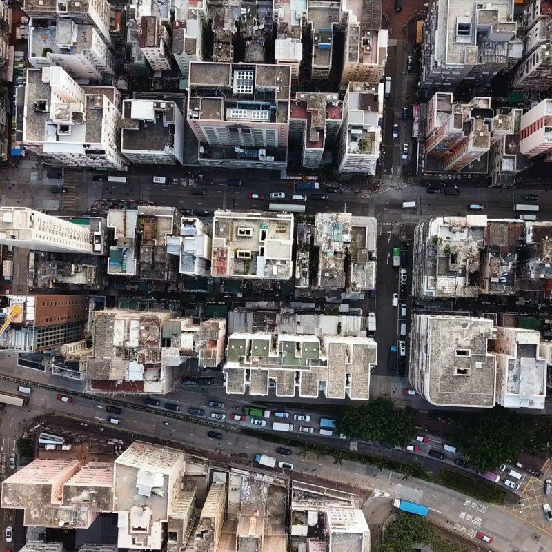 Top view of building block in city of Hong Kong